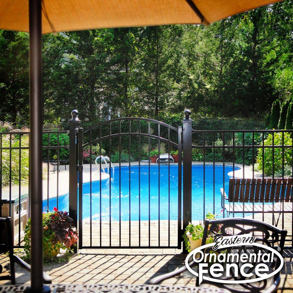 EO54202-BK 54 Inch High Black Three-Rail Eastern Ornamental Aluminum Fence with 4 Inch Posts a Matching Accent Gate and Ball Caps #ornamentalfence #aluminumfence #poolfence #aluminumrailing #railing #fencesupplies #railingsupplies #fence #fences #vinylfence #pvcfence #vinylfences #pvcfences #picketfence #fencecompany #fencecontractor #fenceinstaller #fencesupplies #longisland #longislandny #connecticut #rhodeisland #massachusetts #newjersey #pennsylvania #thenortheast #tristatearea